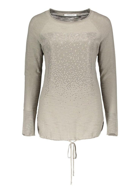 Betty Barclay Khaki Fine Knit Jumper with Drawstring Waist