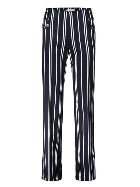 Betty Barclay Dark Blue/Cream Stripe Straight Long Trousers