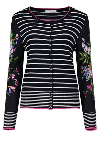 Betty Barclay Dark Blue/Cream Stripe Knit Floral Sleeve Cardigan