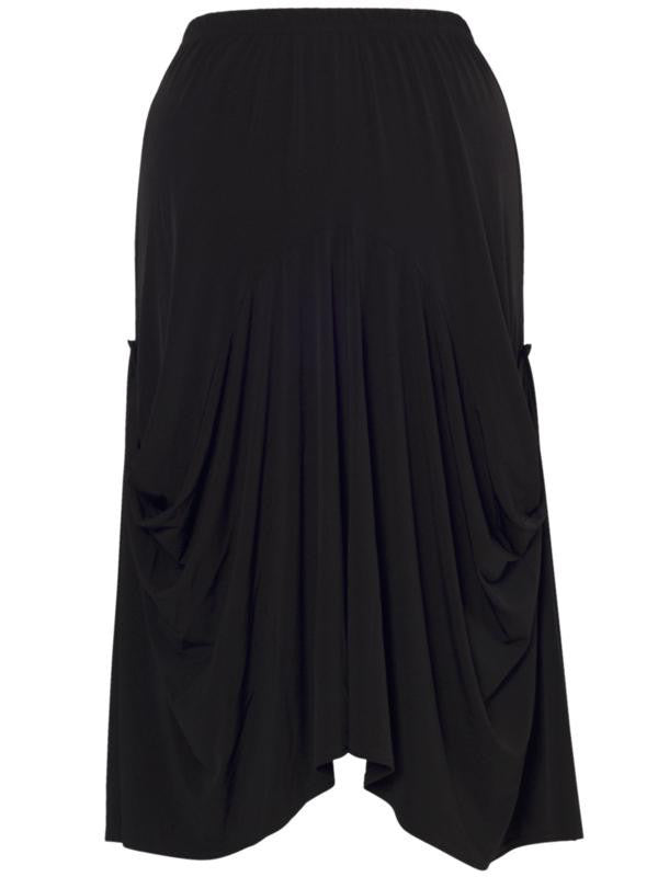 Black Drape Jersey Skirt