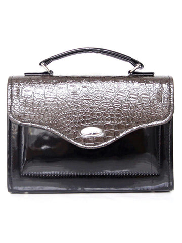 Black Grey Croc Medium Bag B82Y135 alt1