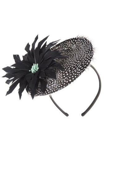 Black Opal Bead Trim Petite Fascinator H81X182 alt1
