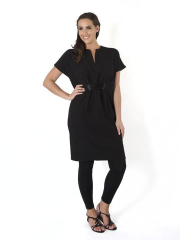 Black Pique Jersey  Empire line dress