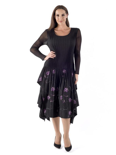 Black Purple Embroidered Crush Pleat Layered Dress