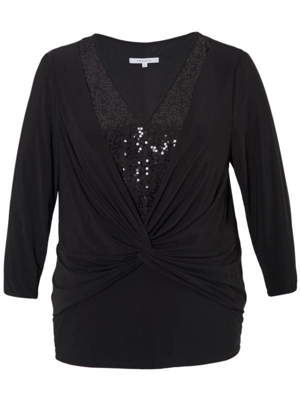 Black Sequin Trim Knot Front Jersey Top