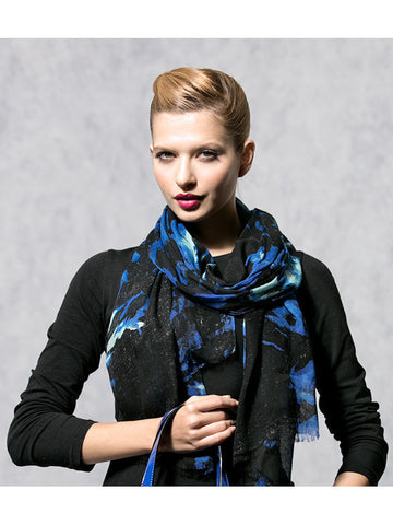 Black and Blue Floral Printed Scarf A81Y129 alt1