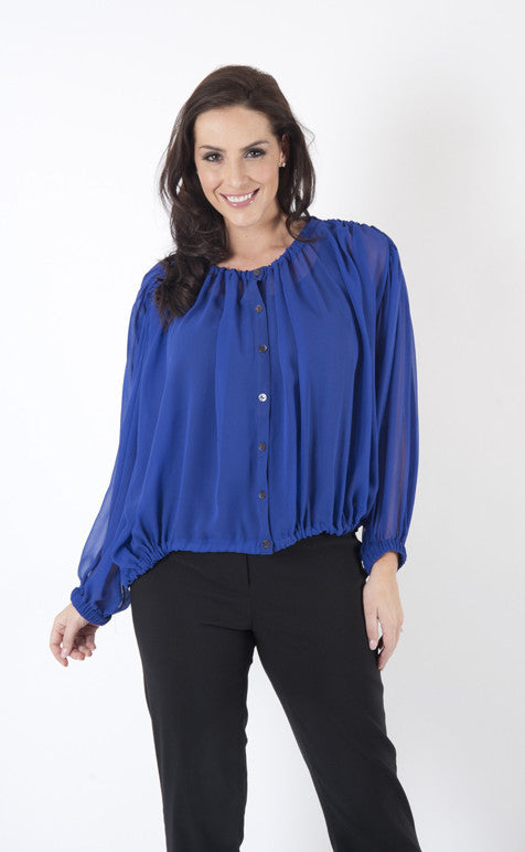 Blue Long Sleeve Pure Silk Chiffon Blouse