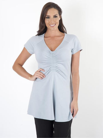 Blue_V Neck_Ruched_Jersey_T Shirt_850Y535_alt1