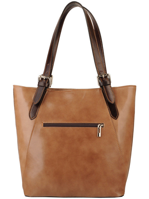 Brown Leather Handle Zip Bag