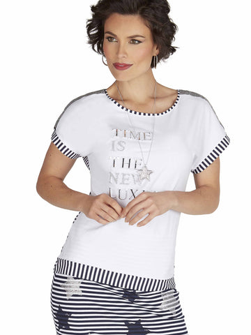 Tricotto White/Black T-shirt with Beaded words and Stripe Back