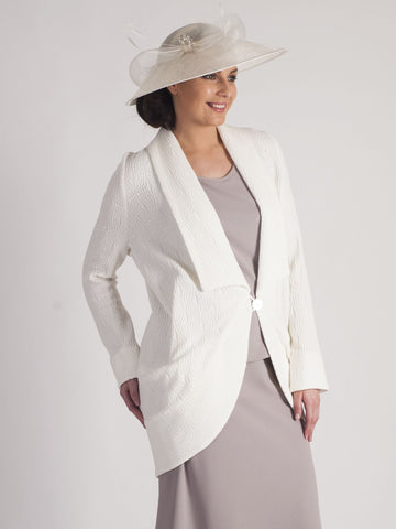 Ivory Shawl Collar Jacquard Coat