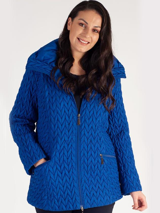 Ocean Blue Cable Emb Quilt Coat