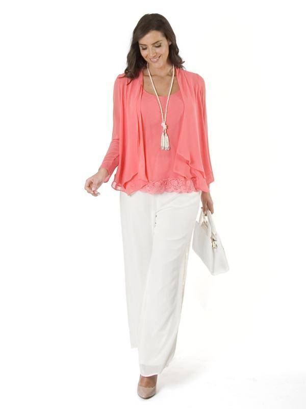 Coral Lace Back Double Layered Chiffon Shrug