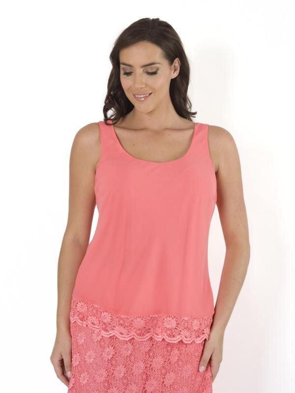 Coral Scallop Lace Trim Chiffon Top - COMING SOON