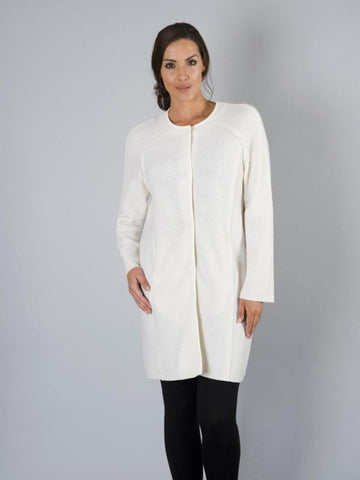 Cream Round Neck Merino Wool Coat