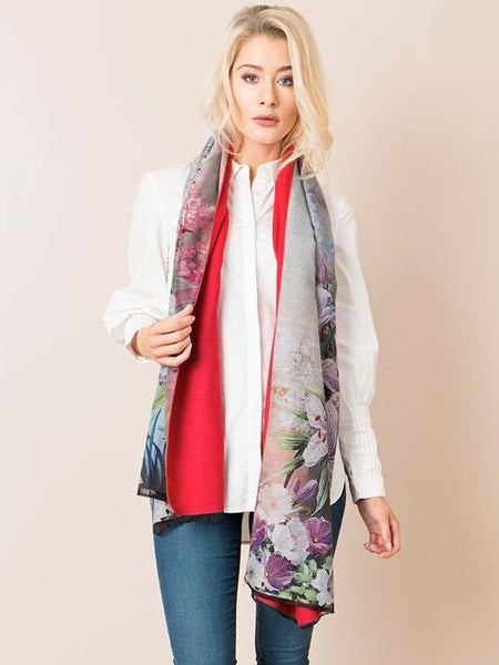 Pink Flower Print Scarf With Solid Red Underside