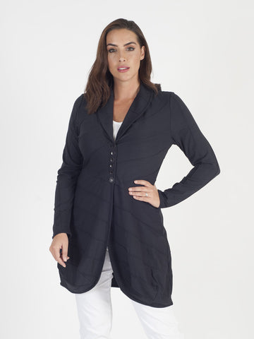 Vetono navy Ribbed Jersey Jacket