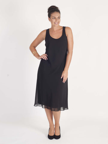 Black Bias Cut Chiffon Dress