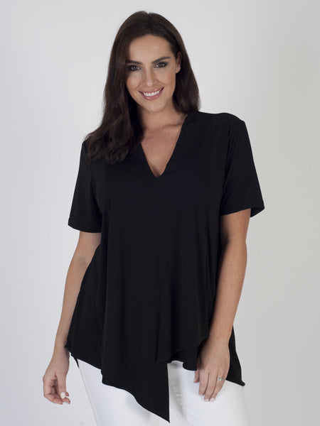 Black Asymmetric Layered Jersey Top