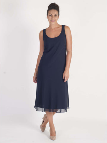 Navy Bias Cut Chiffon Dress