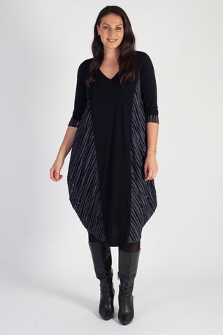 Grey Fancy Ribbed Stripe & Plain Jersey Drape Dress