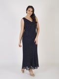 Navy Iridescent Diagonal Beaded Dress