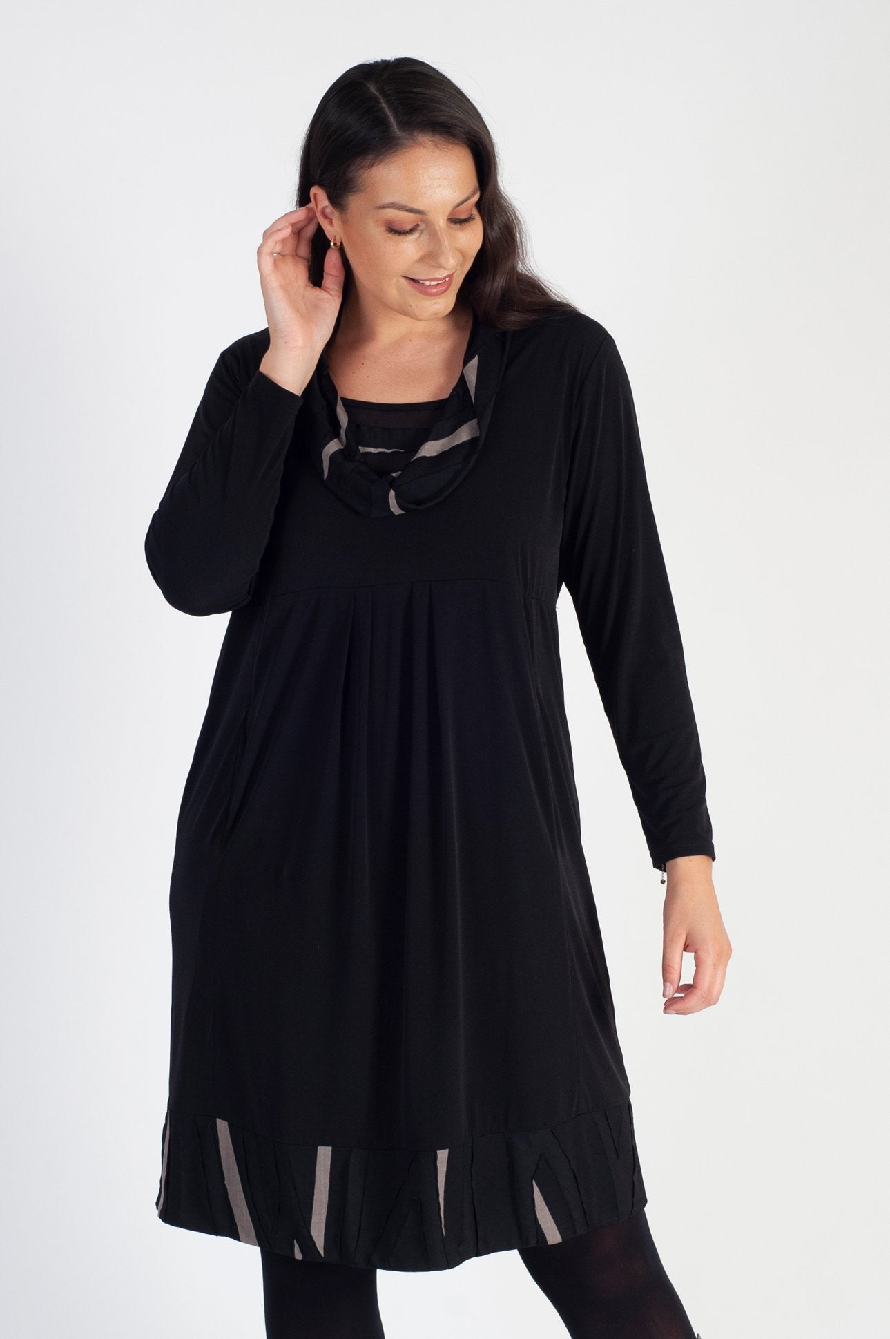 Black/Taupe Cowl Collar Trim Jersey Dress