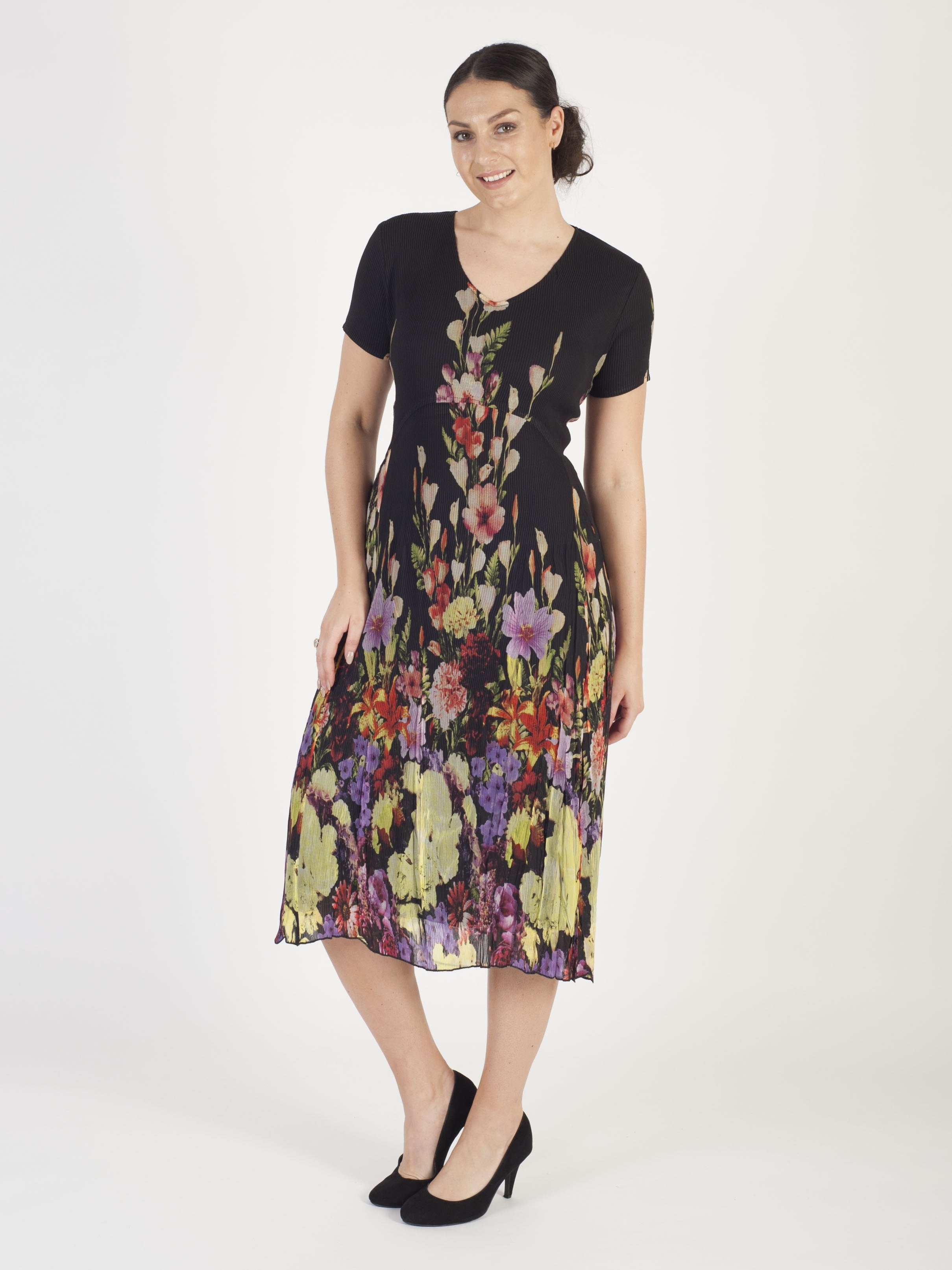 Black Floral Border Crush Pleat Chiffon Dress