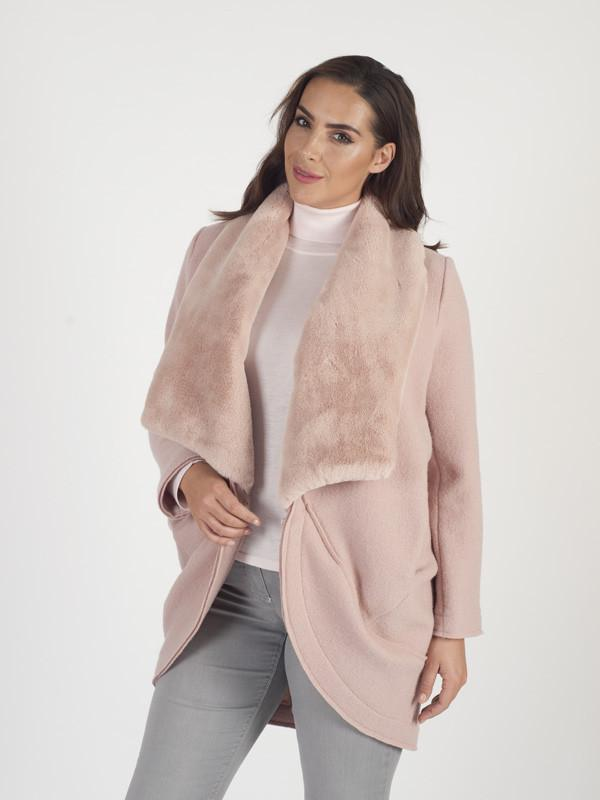 Pink Shawl Collar Coat With Matching Fur Collar