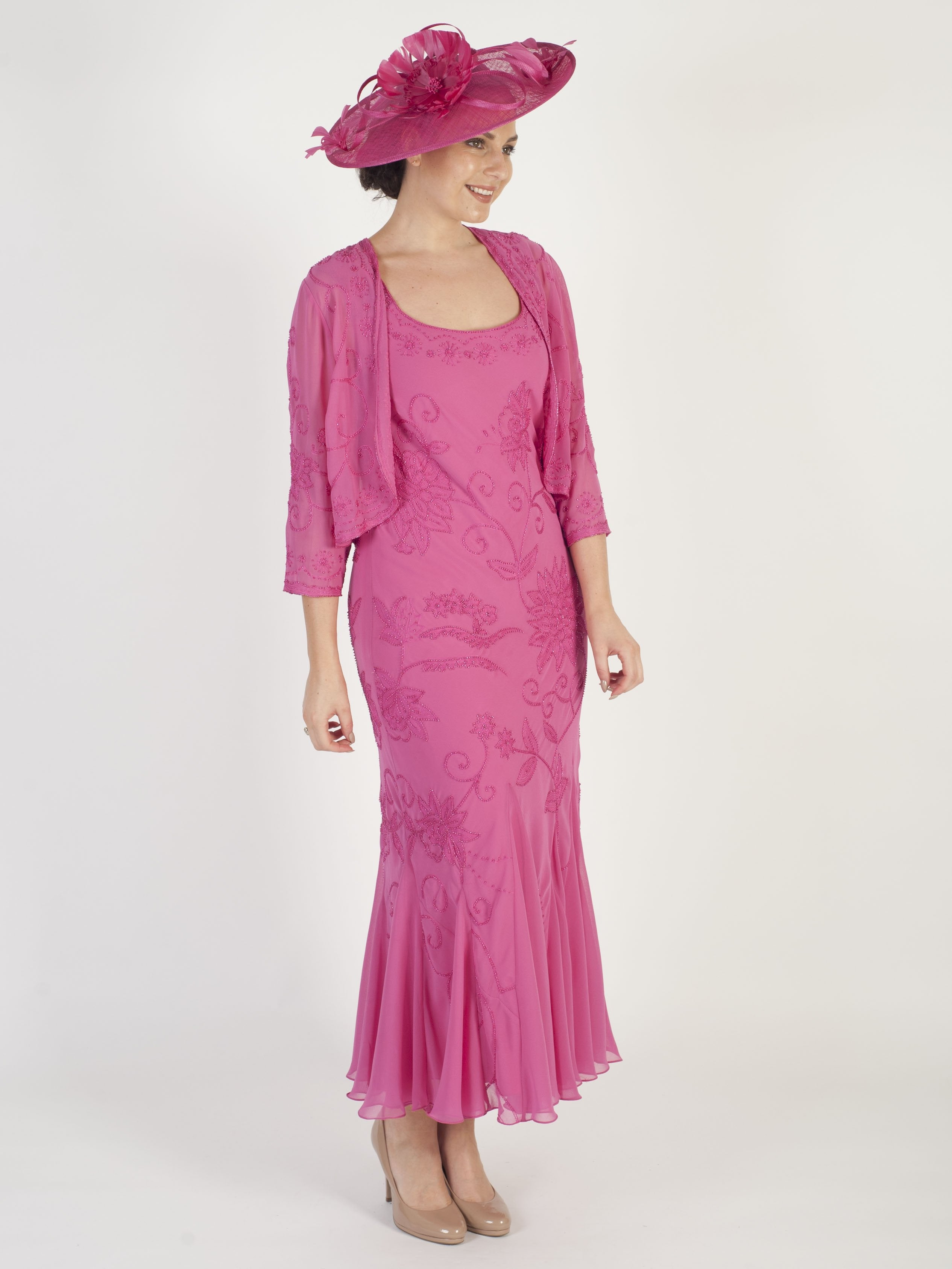 Rose Pink Embroidered and Beaded Dress