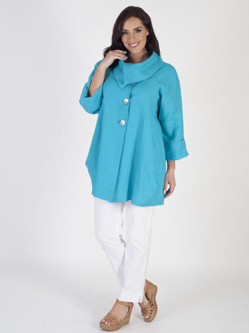 Turquoise Large Collar Linen Coat