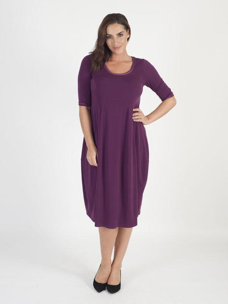 Plum Seamed Jersey Dress