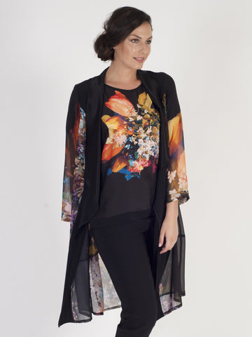Black/Orange Tulip Chiffon Print Coat with Satin trim