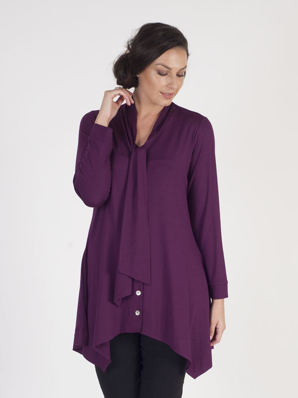 Plum Kitten Bow Button Thru Tunic