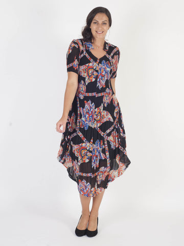 Black/Orange Multi Abstract Print Crush Pleat Notch Neck Dress
