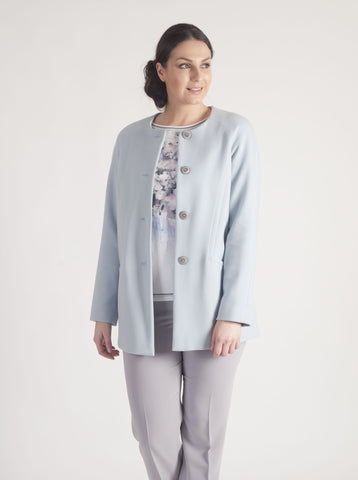Taifun Pale Blue Collarless Coat