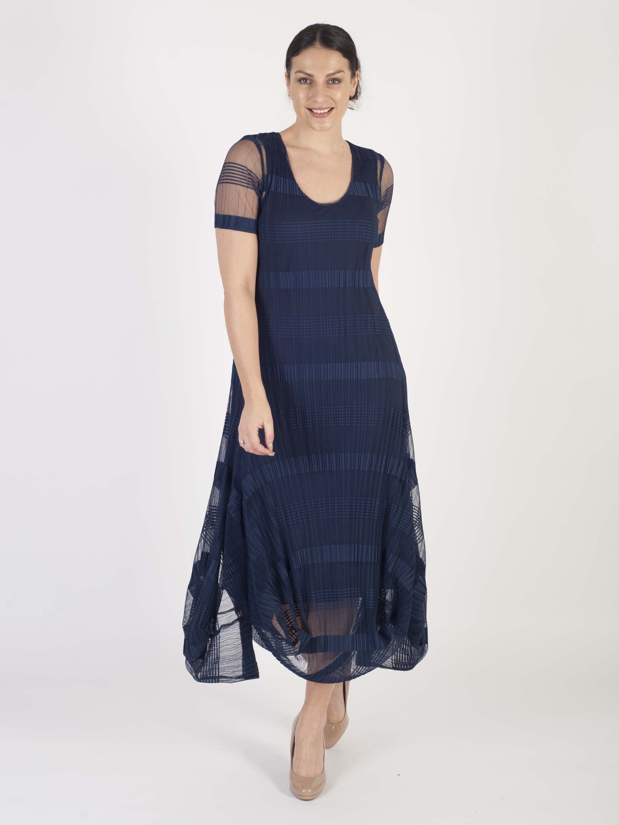 Navy Sheer & Stripe Crush Pleat Drape Dress