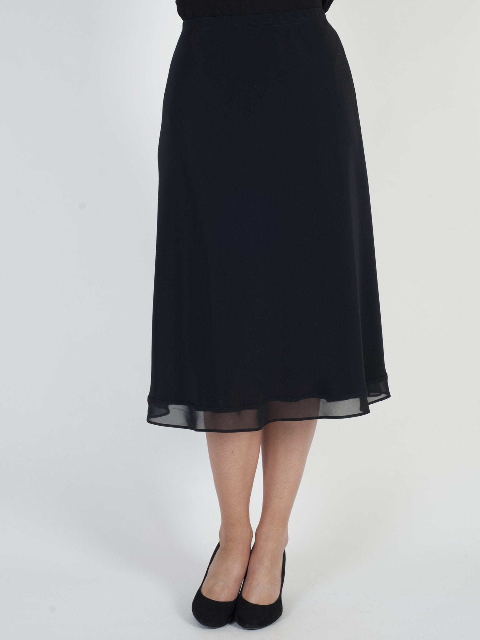 Black Chiffon Trim Satin Back Crepe Skirt