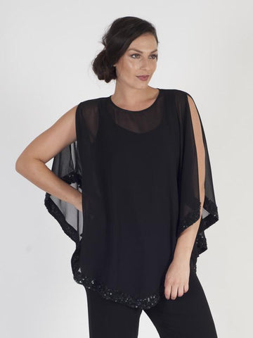 Black Ring Sequin Trim Top