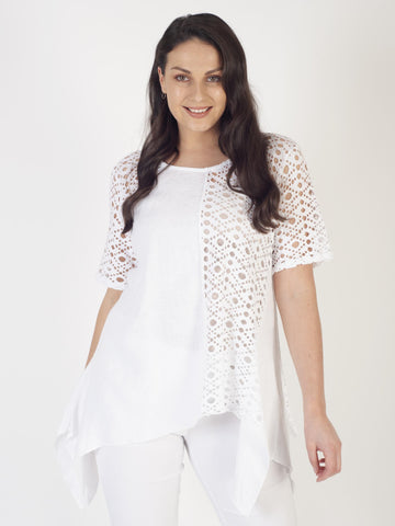 White Holey Mesh & Linen Top