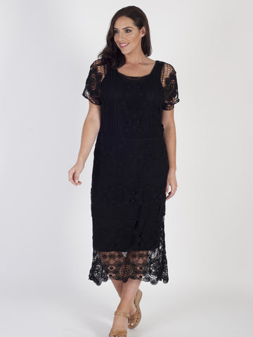 Black Crochet Dress With Lining