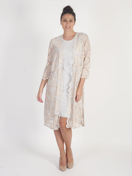 Gold & Silver  2-Tone Scallop Lace Coat