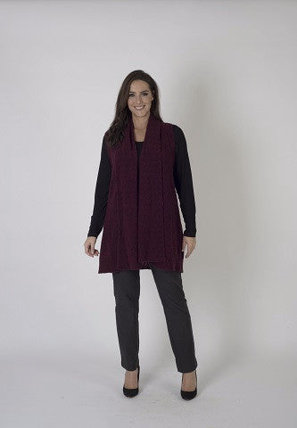 Wine Sleeveless Cardigan