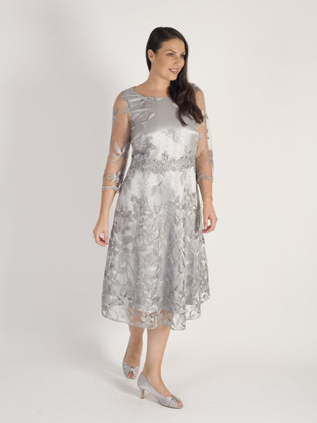 Grey Scallop Trim Border Emb Lace Dress