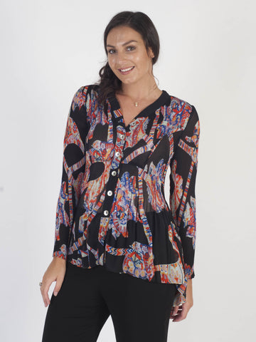 Black/Orange Multi Abstract Print Crush Pleat Blouse - Pre-order 21st August