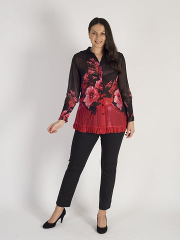 Ruby/Black Border Print Crush Pleat Blouse