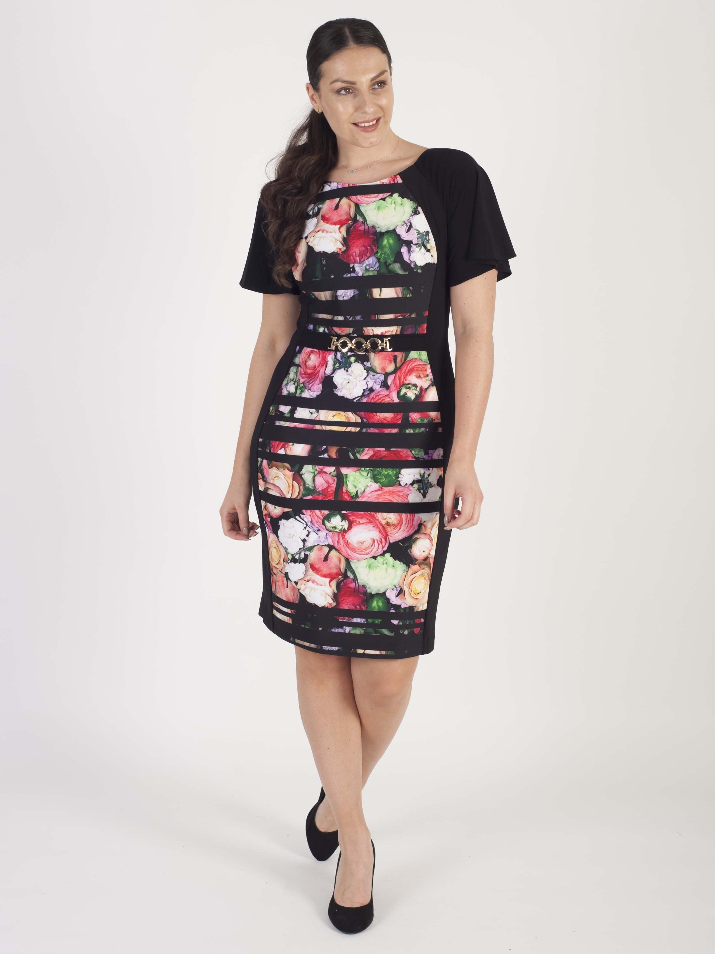 Joseph Ribkoff Black/Multi Front and Back Printed Panel Dress