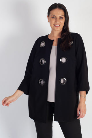 Black Eyelet Trim Bonded Jersey Split Cuff Coat