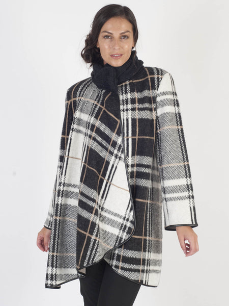 Black/Ivory Camel Check Coat