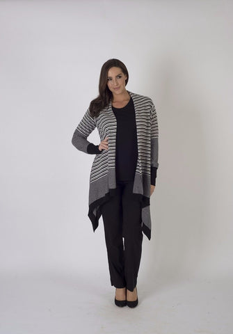 Black/Stone Stripe and Plain Mix Cardigan